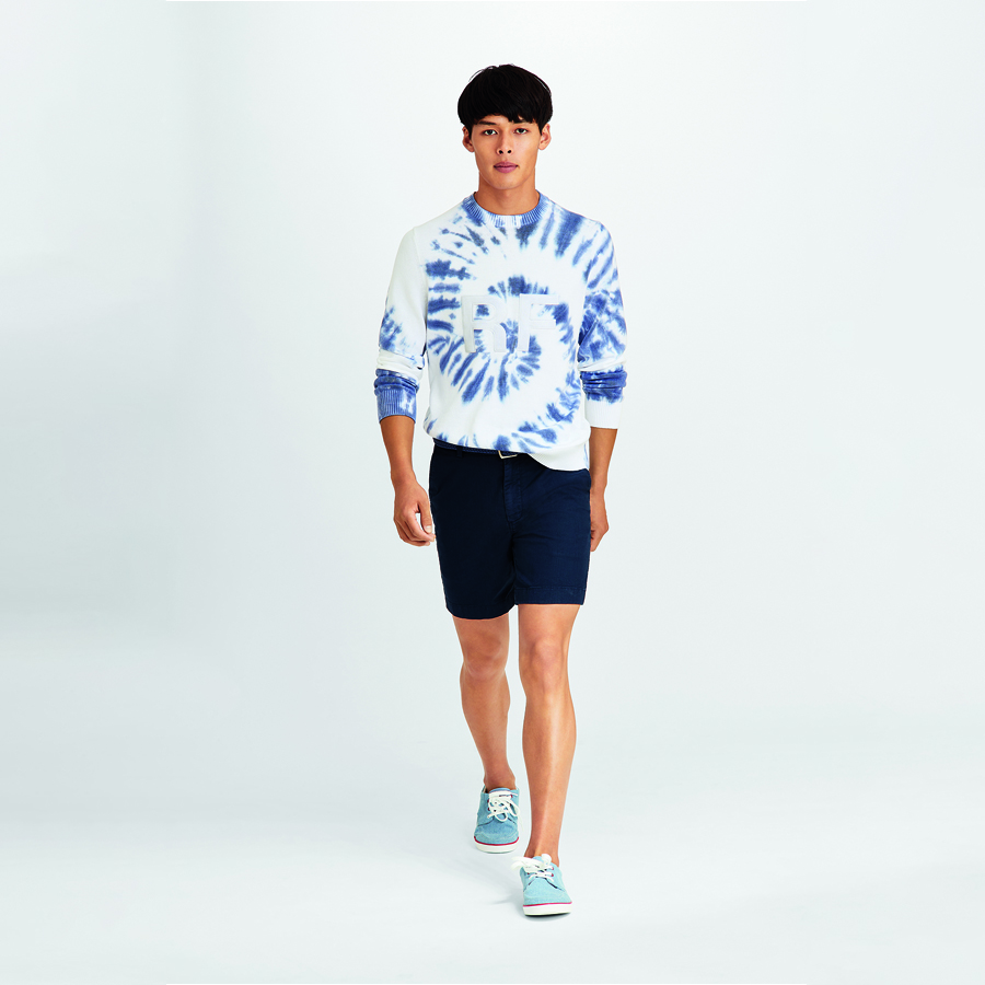 "Graphic Tie-Dyed Cotton Sweater & Chino 7"" Shorts by Brooks Brothers"
